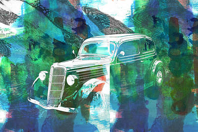 Painting - 1935 Ford Sedan Vintage Antique Classic Car Art Prints 5036.02 by M K Miller