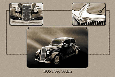 Photograph - 1935 Ford Sedan Vintage Antique Classic Car Art Prints 5052.01 by M K  Miller
