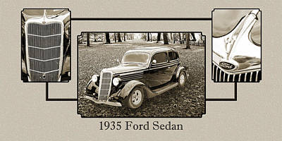 Photograph - 1935 Ford Sedan Vintage Antique Classic Car Art Prints 5053.01 by M K  Miller