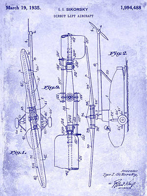 Helicopter Photograph - 1935 Helicopter Patent Blueprint by Jon Neidert
