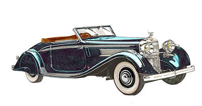 Painting - 1935 Hispano Suiza K6 Cabriolet by Jack Pumphrey