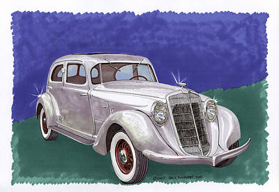 Painting - 1935 Hupmobile Model 527 T by Jack Pumphrey