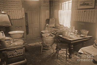 Old Wood Burning Stove Photograph - 1935 Kitchen by Padre Art