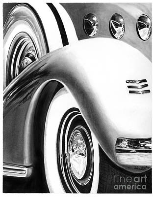 Automotive Drawing - 1935 Lasalle Abstract by Peter Piatt