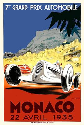 Monaco Digital Art - 1935 Monaco Grand Prix Race Poster by Retro Graphics