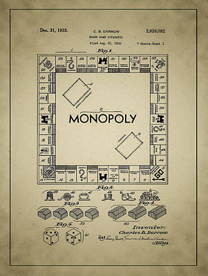 1935 Monopoly Patent Art Print by Bill Cannon