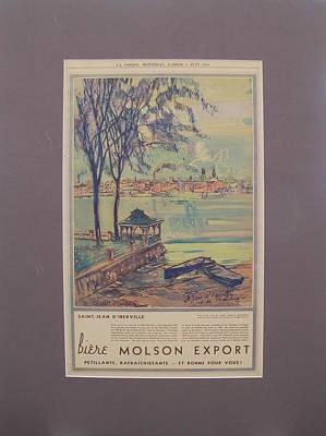 Molsons Beer Drawing - 1935 Original Montreal Canadian La Presse Newspaper Molson Advertisement by Charles W Simpson