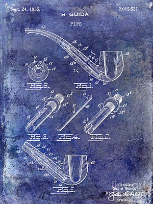 1935 Pipe Patent Blue Art Print