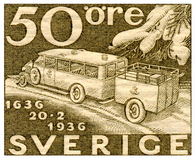 Painting - 1935 Swedish Mail Truck Stamp by Historic Image