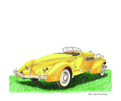 Painting - 1936 Auburn 852 Sc Boattail Speedster by Jack Pumphrey