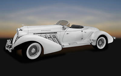 Photograph - 1936 Auburn Supercharged Speedster Convertible  -  1936auburnspeedster170552 by Frank J Benz