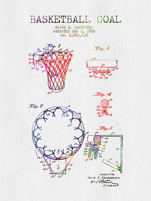 Slam Drawing - 1936 Basketball Goal Patent - Color by Aged Pixel