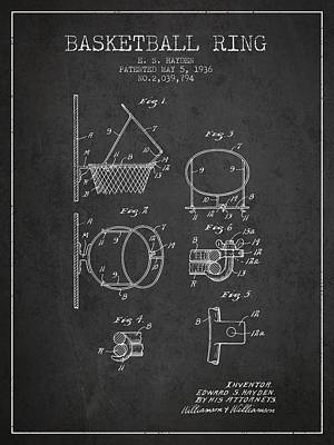 Slam Drawing - 1936 Basketball Ring Patent - Charcoal by Aged Pixel