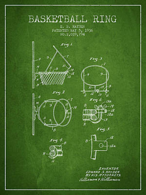 Slam Drawing - 1936 Basketball Ring Patent - Green by Aged Pixel