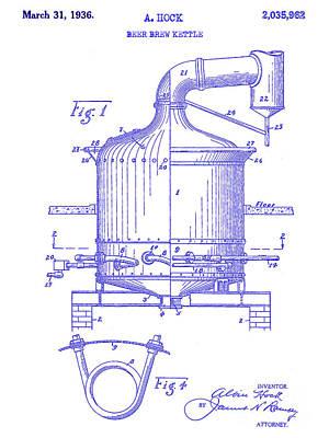 Americana Micro Art Photograph - 1936 Beer Brew Kettle Patent Blueprint by Jon Neidert