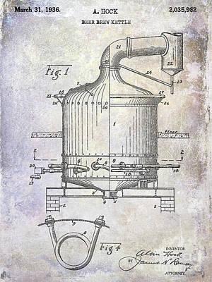 Americana Micro Art Photograph - 1936 Beer Brew Kettle Patent by Jon Neidert