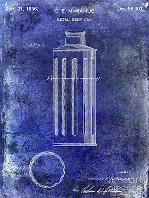 1936 Beer Can Patent Blue Art Print