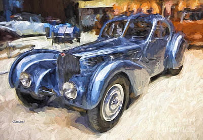 Headlight Mixed Media - 1936 Bugatti Impasto Painting.  by Garland Johnson