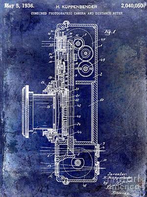 35mm Photograph - 1936 Camera Patent Blue by Jon Neidert