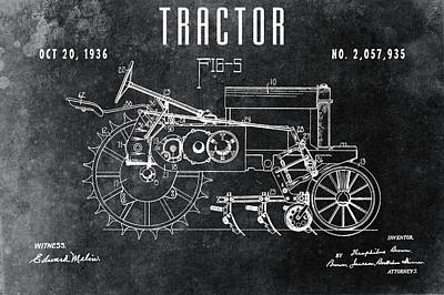 Drawing - 1936 Chalkboard Tractor Patent by Dan Sproul
