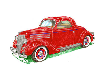 Heather Painting - 1936 Ford 3 Window Coupe' by Jack Pumphrey
