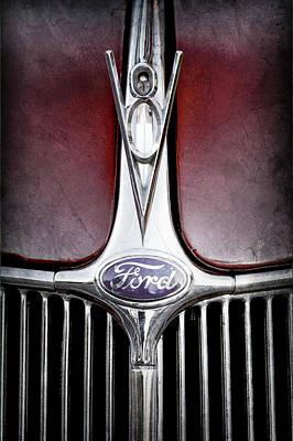 1936 Ford Photograph - 1936 Ford Phaeton V8 Hood Ornament - Emblem -0255ac by Jill Reger