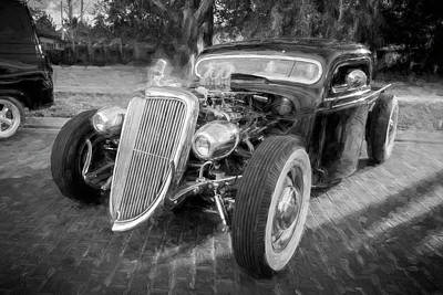 Antique Ford Truck Grill Photograph - 1936 Ford Pick Up Truck Bw C147   by Rich Franco