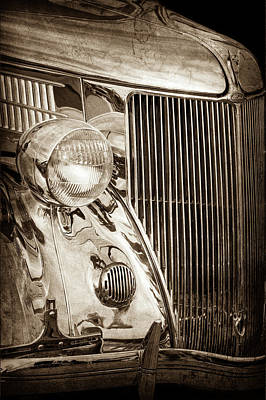1936 Ford Stainless Steel Grille -0376s Print by Jill Reger