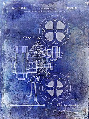 1937 Movies Photograph - 1936 Movie Projector Patent Blue by Jon Neidert