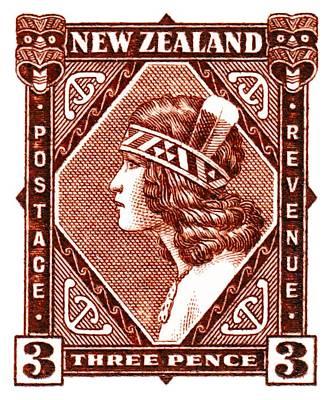 Maori Wall Art - Digital Art - 1936 New Zealand Maori Girl Postage Stamp by Retro Graphics