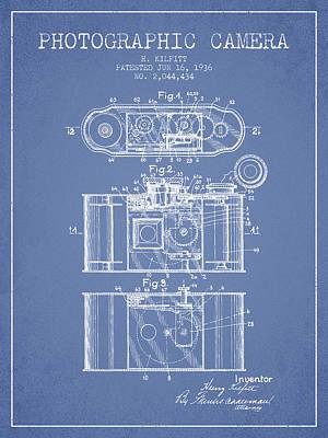 1936 Photographic Camera Patent - Light Blue Art Print