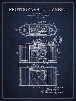 1936 Photographic Camera Patent - Navy Blue Art Print