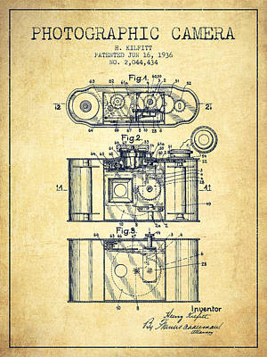 Vintage Camera Digital Art - 1936 Photographic Camera Patent - Vintage by Aged Pixel