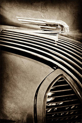 Art Print featuring the photograph 1936 Pontiac Hood Ornament -1140s by Jill Reger