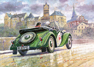 Retro Painting - 1936 Praga Baby Roadster And Loket Kastle by Yuriy Shevchuk