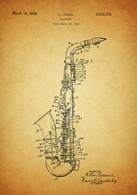Saxophone Mixed Media - 1936 Saxophone Patent by Dan Sproul