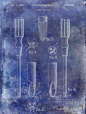 1936 Photograph - 1936 Screwdriver Patent Blue by Jon Neidert