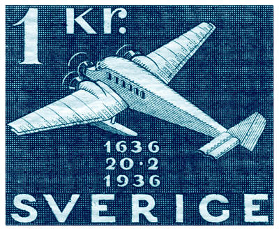 Painting - 1936 Swedish Junkers Aircraft Stamp by Historic Image