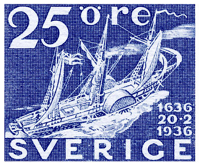 Painting - 1936 Swedish Steamship Stamp by Historic Image