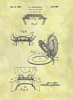 Plumber Drawing - 1936 Toilet Seat Patent by Dan Sproul