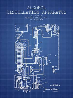 Whiskies Digital Art - 1937 Alcohol Distillation Apparatus Patent Fb79_bp by Aged Pixel