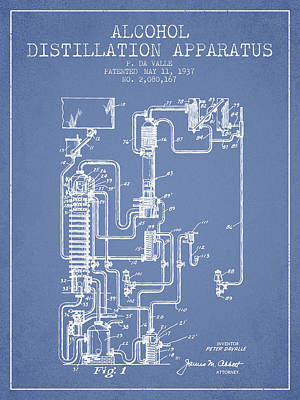 Liquor Digital Art - 1937 Alcohol Distillation Apparatus Patent Fb79_lb by Aged Pixel