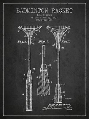 Badminton Digital Art - 1937 Badminton Racket Patent Spbm05_cg by Aged Pixel
