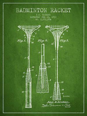 Badminton Digital Art - 1937 Badminton Racket Patent Spbm05_pg by Aged Pixel