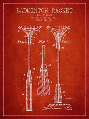 Badminton Digital Art - 1937 Badminton Racket Patent Spbm05_vr by Aged Pixel