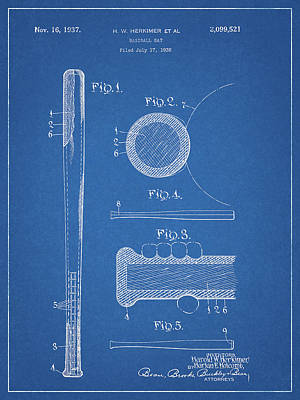 Drawing - 1937 Baseball Bat by Dan Sproul