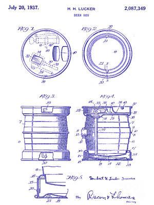 1937 Beer Keg Patent Blueprint Art Print
