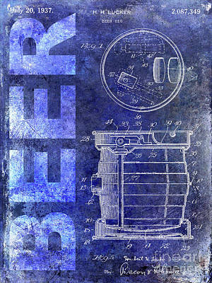 1937 Beer Tap Patent Blue Art Print