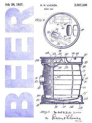 Stein Photograph - 1937 Beer Tap Patent Blueprint by Jon Neidert