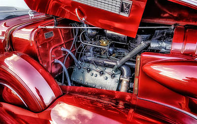 Photograph - 1937 Cadillac Engine Compartment by Frank J Benz